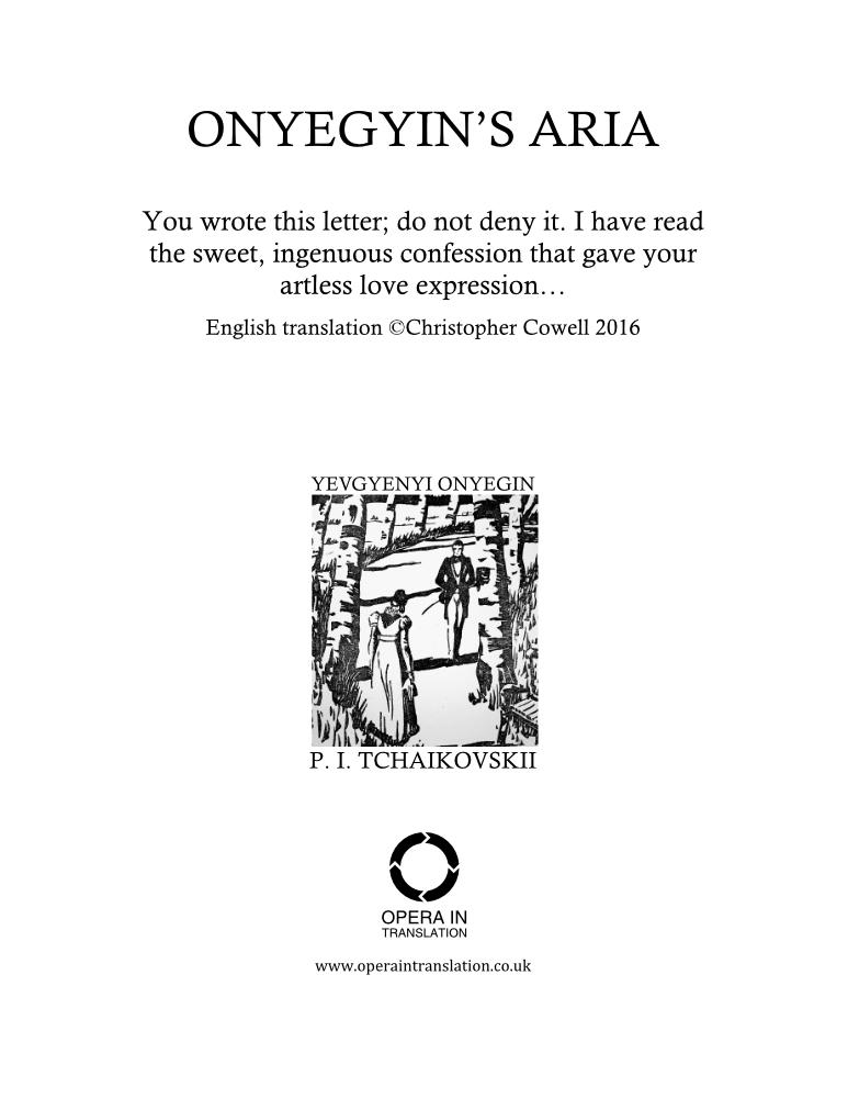 Onegin's aria_cover