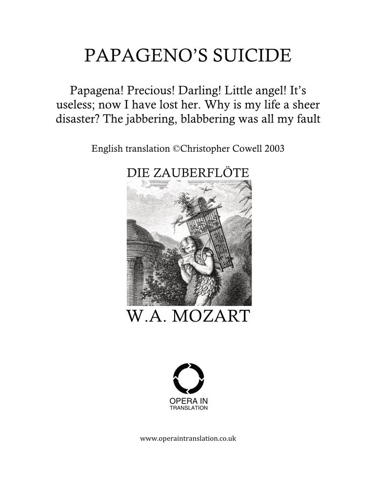 Papagena, Papagena! (Papageno's suicide)_cover